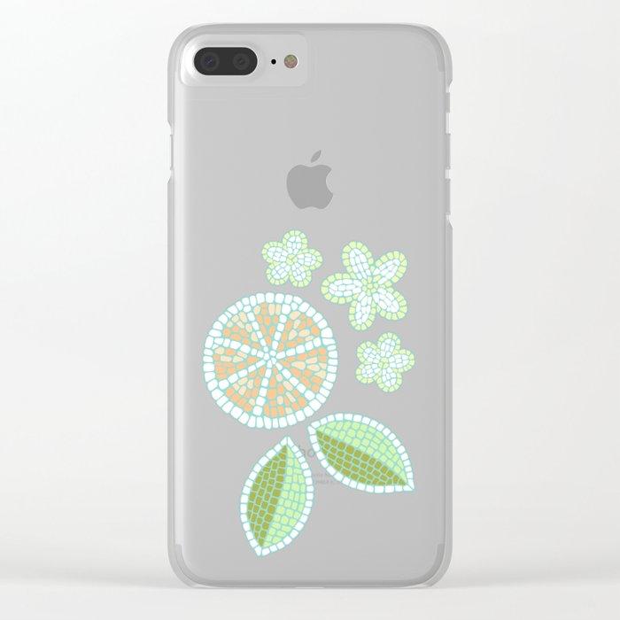 Orange Mosaic Clear iPhone Case