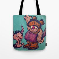 monster high Tote Bags featuring High 3 by Macacos Flamejantes