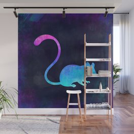 MOUSE IN SPACE // Animal Graphic Art // Watercolor Canvas Painting // Modern Minimal Cute Wall Mural