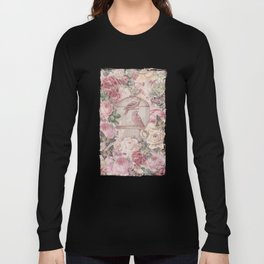 Romantic Flower Pattern And Birdcage Long Sleeve T-shirt
