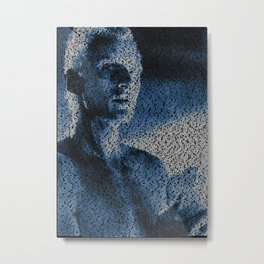 Text Portrait of Roy Batty with full script of the movie Blade Runner Metal Print