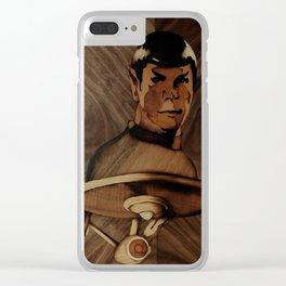 Original Leonard Nimoy (mr. Spock) on enterprise series of wood by Andulino Clear iPhone Case