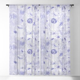 Shells - Deep Blue - Casart Sea Life Treasures Collection Sheer Curtain