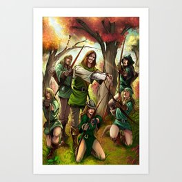 Robin Hood and his Merry Women Art Print
