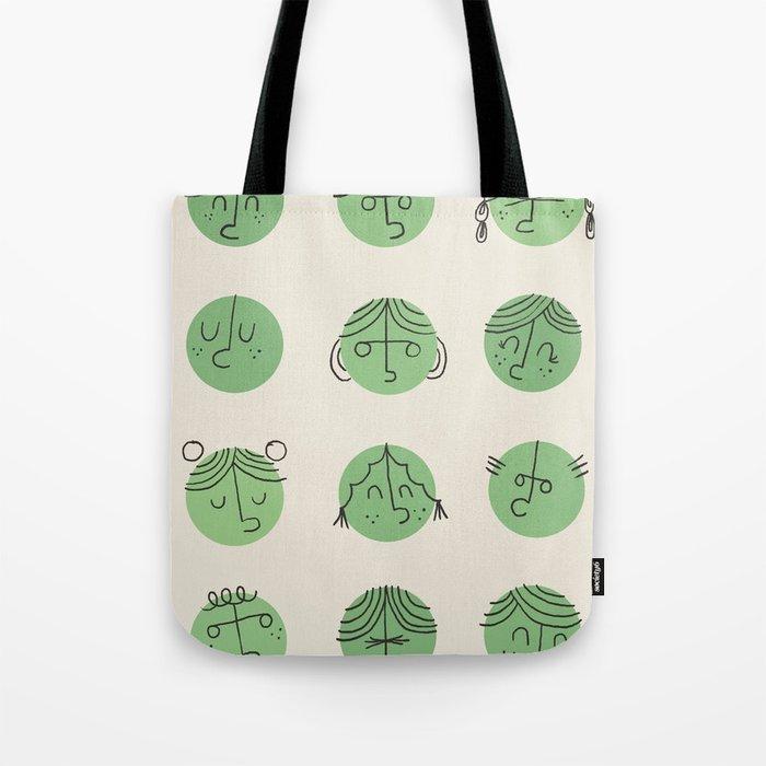 green faces Tote Bag
