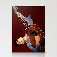 bob dylan Stationery Cards featuring Bob Dylan by Derek Donovan