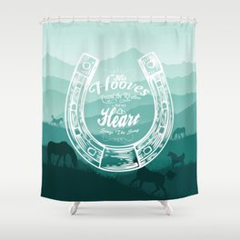 Horse Quote Typography - Horse Hoove Shoe quote - Horse lover Shower Curtain