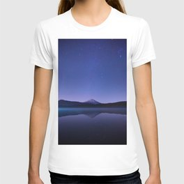 Purple Lilac Lullaby Japanese Mountains At Night Star Sky Relaxing Cozy Landscape T-shirt