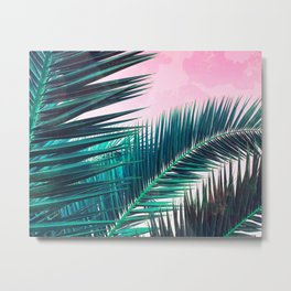 Nostalgic Palm Leaves on Pink #homedecor #buyart Metal Print