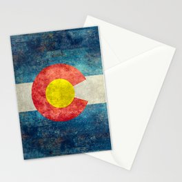 Colorado flag with Grungy Textures Stationery Cards