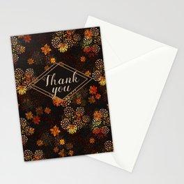 Orange & brown floral pattern Stationery Cards