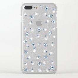 Hibiscus and Plumeria - Blue Clear iPhone Case