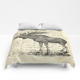 western country primitive winter mountain animal wildlife moose Comforters