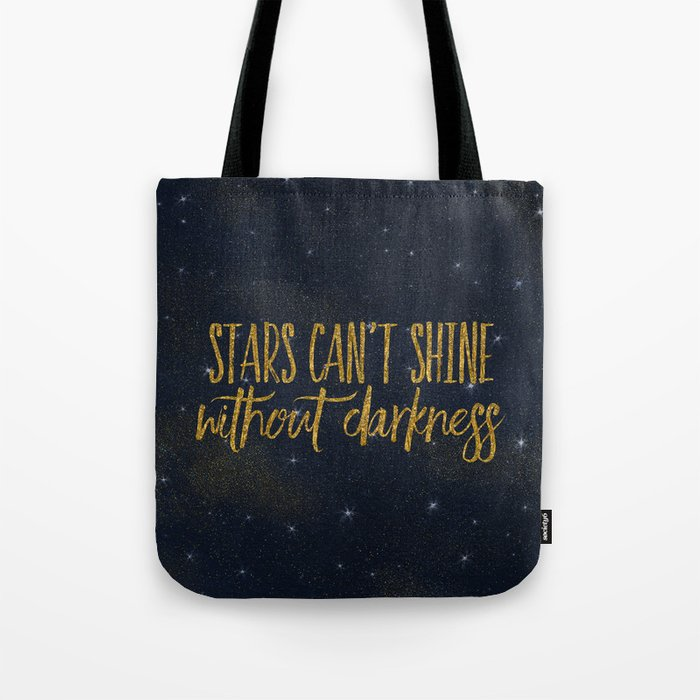 Stars- Darkness - sparkling gold glitter effect night typography on #Society6 Tote Bag