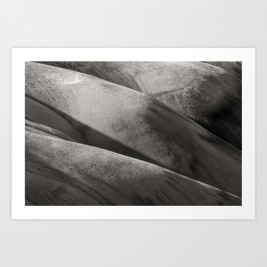 Painted Hills Monochrome Art Print