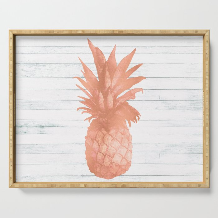 Rose Gold Pineapple On Wood Nautical Decor Serving Tray By Naturemagick