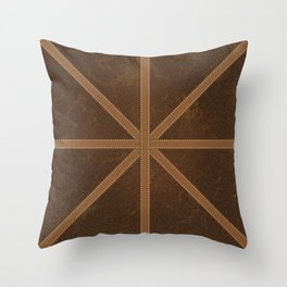 Digitial Faux Brown Leather and Union Jack Cross Design Throw Pillow