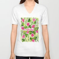 lime V-neck T-shirts featuring Tropical Wanderlust – Pink & Lime by Cat Coquillette
