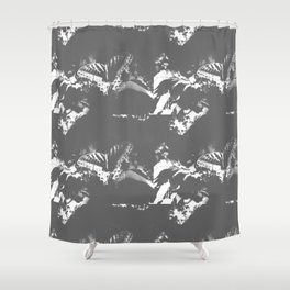 Faded Butterfly Graphite Shower Curtain