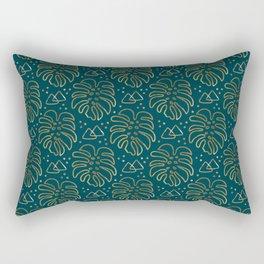 Gold Monstera on Teal Rectangular Pillow