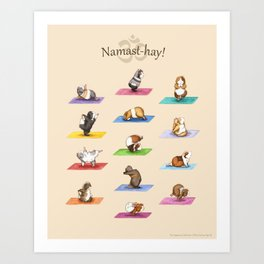 The Yoguineas - Yoga Guinea Pigs - Namast-hay! Art Print