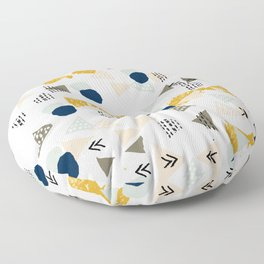 Minimal modern color palette navy gold abstract art painted dots pattern Floor Pillow