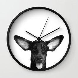 DOG - DOBERMAN BLACK & WHITE Wall Clock