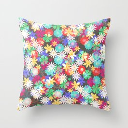 Confetti flowers Throw Pillow
