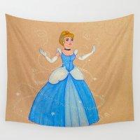 cinderella Wall Tapestries featuring Cinderella by Sierra Christy Art