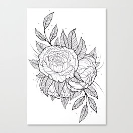 Peonies Lineart Canvas Print