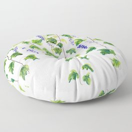 Ivy and Lavender Watercolor Floor Pillow