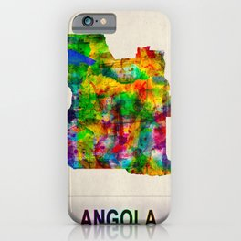 Angola Map in Watercolor iPhone Case