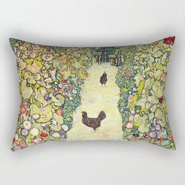 """Gustav Klimt """"Garden Path with Chickens"""" Rectangular Pillow"""