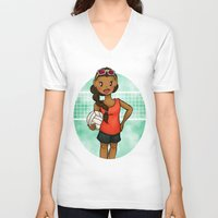 volleyball V-neck T-shirts featuring Volleyball Girl by Everybody Illustrated