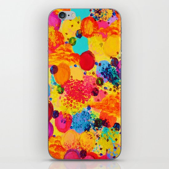 TIME FOR BUBBLY 2 - Fun Fiery Orange Red Whimsical Bubbles Bright Colorful Abstract Acrylic Painting iPhone & iPod Skin