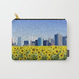 New York City Skyline Oil Paint View from Sunflower Field Carry-All Pouch