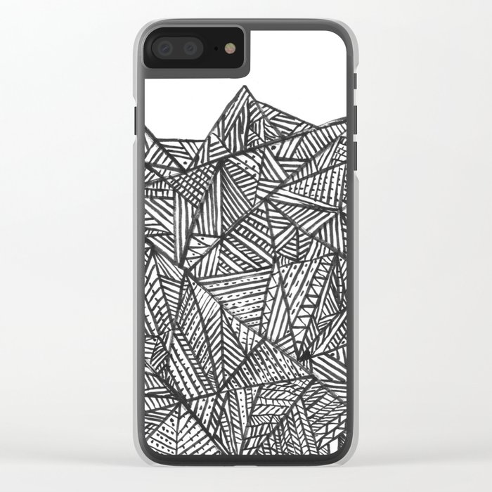 Textured black triangles zentangle pattern Clear iPhone Case
