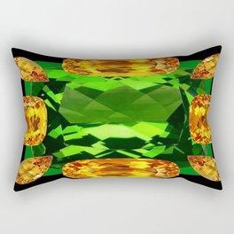 Emerald & Topaz Birthstone Gems Yellow-Green-Black Design Rectangular Pillow