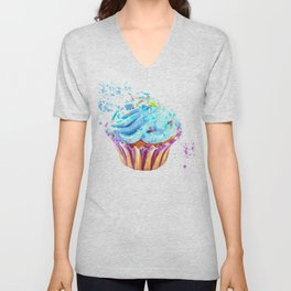 Cupcake watercolor illustration Unisex V-Neck