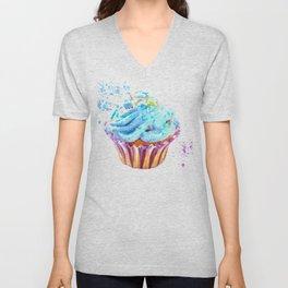 Cupcake watercolor illustration Unisex V-Neck