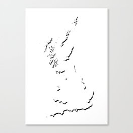 Great Britain Silhouette Shadow Map Art in Cool Black Canvas Print