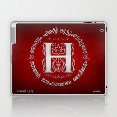 Joshua 24:15 - (Silver on Red) Monogram H Laptop & iPad Skin
