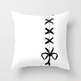 Laced Black Ribbon on White Throw Pillow