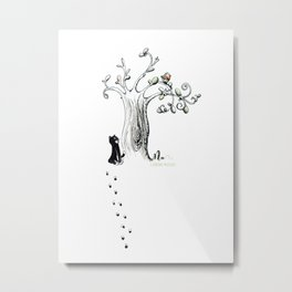 Little Cat and birdy Metal Print