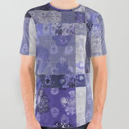 Lotus flower blue stitched patchwork - woodblock print style pattern All Over Graphic Tee