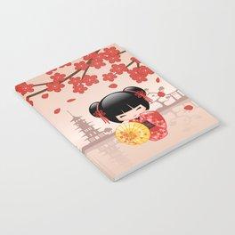 Japanese Red Sakura Kokeshi Doll Notebook