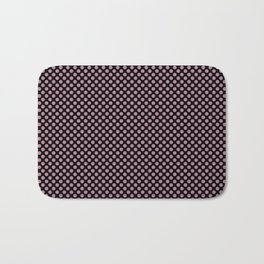 Black and Rosebud Polka Dots Bath Mat