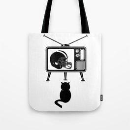 Cat Watching American Football Tote Bag