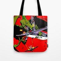 kaiju Tote Bags featuring Kaiju Attack by sasha alexandre keen