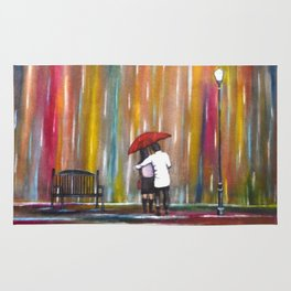 Love in the Rain romantic painting by Manjiri Kanvinde Rug